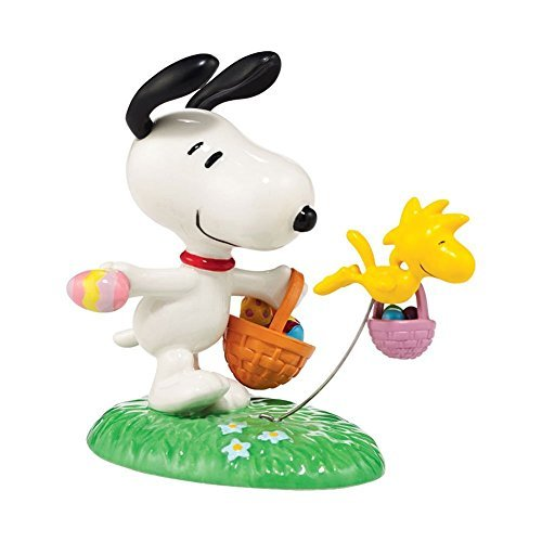 Peanuts Snoopy the Easter Beagle Figurine Department 56 (with Woodstock Easter Eggs - Egg Hunt) - Building Department 56