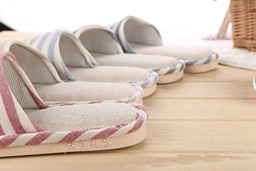 Chaussons Lin Pantoufles Maison Classique Confortables Femme Minetom Intérieure Hommes rayure Sandales Coton Rouge wYpCxTFq