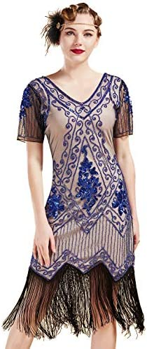 1920 Sophisticated Lady Flapper Sequins Womens Costume Dress and Gloves SM-MD-XL