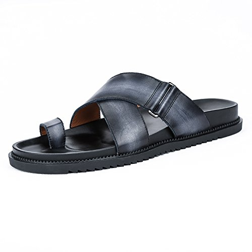 Beach Black Men Yao Slippers Leather Casual Male Summer Beach Genuine for Shoes Leather Fashionable Shoes Comfortable qSxpwSTCI