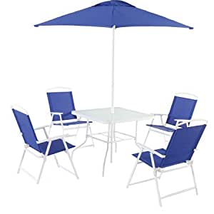 Mainstays Albany Lane 6-Piece Folding Seating Set, Blue, Set of 2