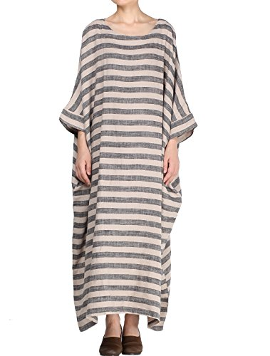 Mordenmiss Women's New Round Collar Stripes Plus Size Dresses Style 1-Medium Gray
