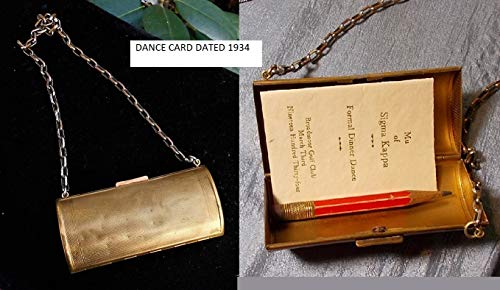 Chatelaine Brass Dance Purse Coins-bills Small Makeup,Pens, Dance Cards 1930s Gold Wash, Good Condition Option 1934 Dance Card Pencil