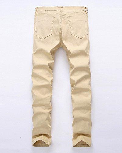 Tiene Rasgados Rodilla Hombre Pantalones Cremallera Rotos Beige Vaqueros Mezclilla DianShao Casual wIHYAqSAx