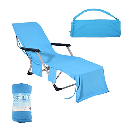 ALLOMN Lounge Chair Towel Beach Towel Microfiber Pool Lounge Chair Cover Lawn Chair Cover Patio Chair Cover with Pockets Holidays Sunbathing Quick Drying Towels 75x210 cm (Blue)