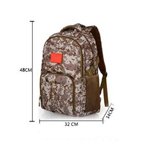 Mochila 36L Militares estilo camuflaje Asalto paquete Alta capacidad Ocio ligero Mochila al aire libre , desert digital Khaki