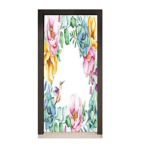 Homesonne Succulent Door Wallpaper Nature Themed Framework with Floral Flourish Border and Cute Little Hummingbird Decorative Door Sticker Multicolor,W17.1xH78.7 ()
