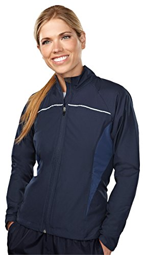 Tri-mountain Womens 100% polyester micro dobby long sleeve jacket 1060 - NAVY/MOUNTAIN - Sale Tops Women's Tri