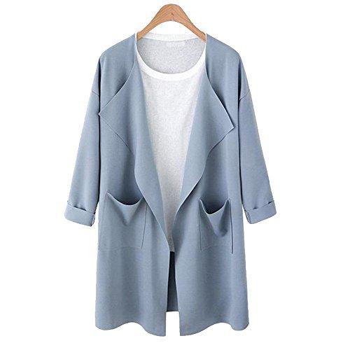 Shujin Veste Femme Cardigan Solide Outwear Printemps t Manteau Grande Taille Tricot Manteau Longue Bleu Clair