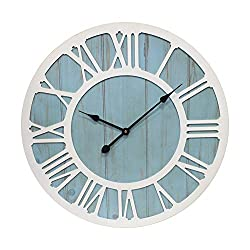 CHIAE Large Wall Clock Solid Wood Clocks Non-Ticking Silent Quartz for Farmhouse Home Decorative ,Coastal Blue 24-inch
