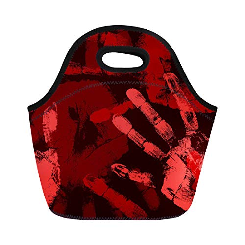 Semtomn Neoprene Lunch Tote Bag Red Bloody Printed Hands Dirty Blood Murder Pattern Zombie Reusable Cooler Bags Insulated Thermal Picnic Handbag for Travel,School,Outdoors, Work -