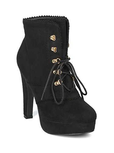 Platform Suede Booties - Alrisco Women Faux Suede Round Toe Lace up Platform Chunky Heel Bootie HF29 - Black Faux Suede (Size: 8.5)