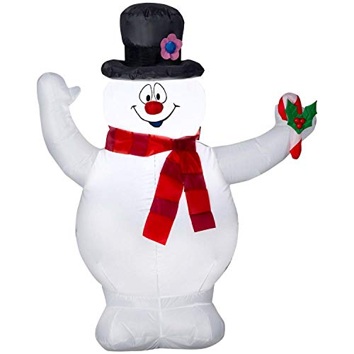 Gemmy Christmas Inflatable 3.5' Frosty The Snowman with Scarf and Holly Berry Candy Cane Airblown Model 111783 -
