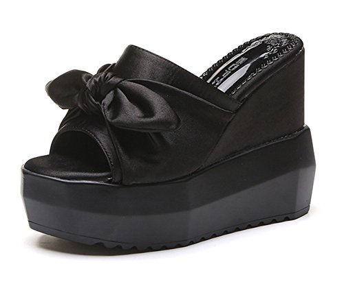 Good Night Pure Color Satin Bowknot Wedges Slipper Non-Skid Super High Slip on Sandal For Women, Girl Black