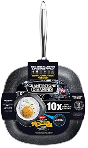 Granitestone Square Non-stick, No-warp, Mineral-enforced Pan PFOA-Free As Seen On TV (12-inch)
