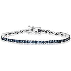 1 CT Blue Diamond Tennis Bracelet in 10K White Gold