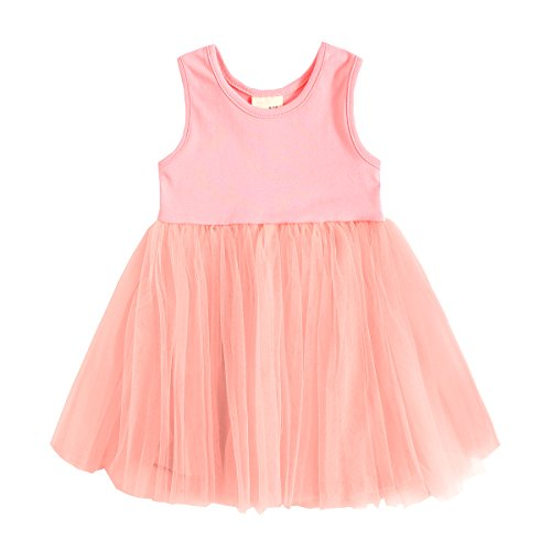 Baby Girl Dress, Toddler Pleated Tutu Skirt Children Sleeveless Princess Dress Pink 86(12-18 Month) (Cute Halloween Dress)