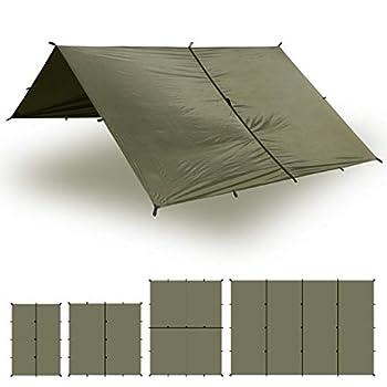 Image of Tent Tarps Aqua Quest Safari Tarp - 100% Waterproof Lightweight SilNylon Bushcraft Camping Shelter - 10x7, 10x10, 13x10, 20x13 Olive Drab or Camo