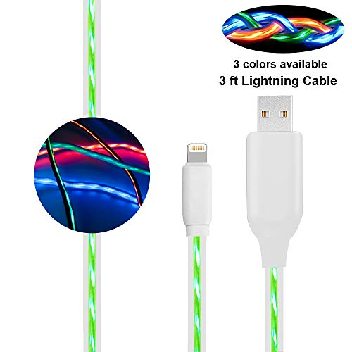 BUSOH Compatible iPhone Charger Cable, Light Up Charging Cable Flowing Led Light [3ft/0.9 M] Flash Glowing Cord EL Flat Charging Wire Replacement for iPhone X/8 Plus/8/7Plus/7/6S Plus/6S, Green