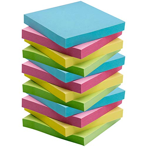 Sticky Notes, Self-Stick Notes, 12 Pads/Pack,100 Sheets/Pad, 3 X 3 inches with 4 Candy Colors, Easy to Post for Home, Office, Sticky Issue is Improved