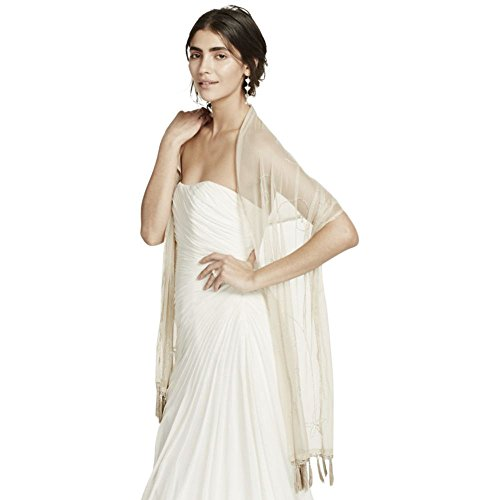 David's Bridal Mesh Embellished Wrap Style GO2CK1325B, Champagne from David's Bridal