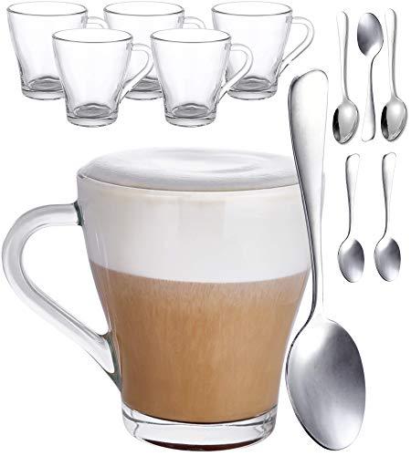 Set van 6 cappuccinoglazen met handvat en lepel – 250 ml – Blijft lang warm