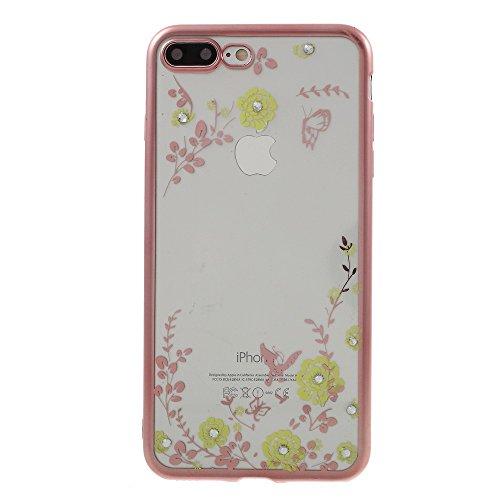 Rhinestone Flower Butterfly Plated TPU Back Tasche Hüllen Schutzhülle Case für iPhone 7 Plus - Gelb Flower / Rose Gold