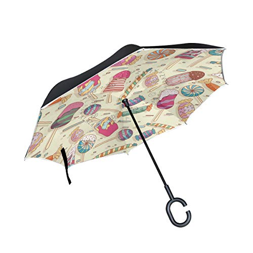 Jojogood Toffee Pattern Inverted Umbrella Reverse Auto Open Double Layer Windproof UV Protection Upside Down Umbrella for Car Rain Outdoor ()