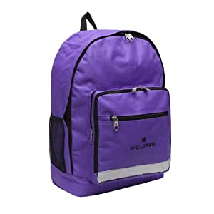 K-Cliffs Purple Polyester School Backpack/ Outdoor Backpack with Reflective Strip