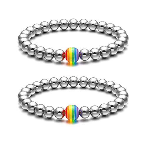 Jovivi 2pcs Couples Bracelets Rainbow Gay Pride LGBT Bracelet Stainless Steel 8mm Silver Round Ball Beads Beaded Elastic Bracelet