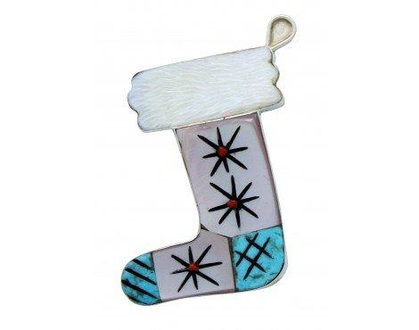 - Valerie Comosona, Pin, Christmas Stocking, Multi Stone Inlay, Zuni Handmade, 2in
