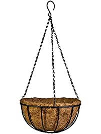 Archi Metal Hanging Planter Basket With Coco Coir Liner Round Wire Plant  Holder With Chain Porch