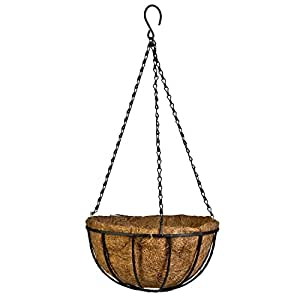 Kingbuy Black Growers Hanging Basket Planter with Chain Flower Plant Pot Home Garden Balcony Decoration-8inch (set of 3)