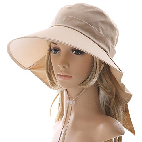 Ls Lady Womens Summer Flap Cover Cap Cotton Anti-UV UPF 50+ Sun Shade Hat With Bow. Adjustable Hat (One Size,0 - Ladies Shades For