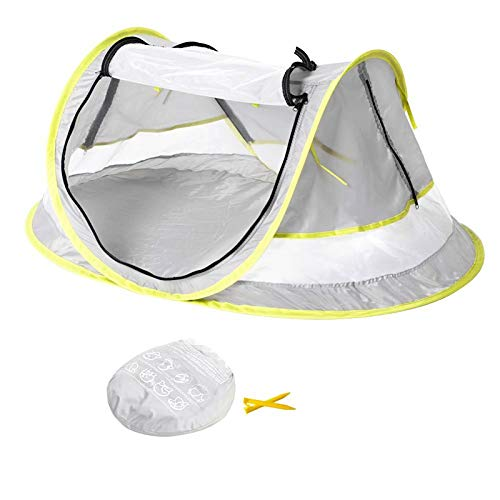 Large Portable Baby Beach Tent Baby Travel Bed UPF 50+ Infant Sun Shelters Pop Up Tent Outdoor Foldable Lightweight Travel Crib Mosquito Net Sunshade with 2 Pegs