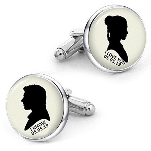 Kooer I Love You I Know Cufflinks For Star Wars Style Custom Personalized Wedding Cuff Links Jewelry (silver plated cufflinks) by Kooer