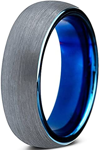 Tungsten Wedding Band Ring 6mm for Men Women Comfort Fit Blue Round Domed Brushed Size 10 (His And Her Rings Tungsten)
