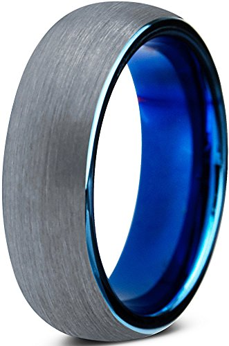 Stylish Two Tone Wedding Band (Tungsten Wedding Band Ring 6mm for Men Women Comfort Fit Blue Round Domed Brushed Size 5.5)