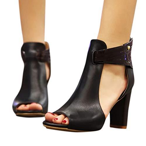 Women Side Cut Peep Toe Medium Mid Heels Ankle Sandals Summer Booties Back Zipper by Lowprofile Black