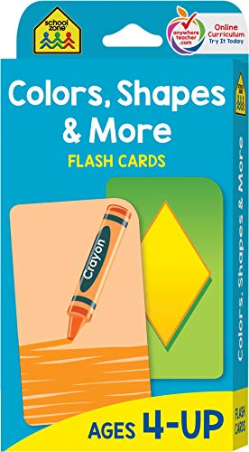 School Zone - Colors, Shapes and More Flash Cards - Ages 4 and Up, Preschool to Kindergarten, Pictures, Numbers, Rhyming Words, Directional Words, Shape Recognition, and More ()