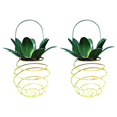 Retractable Solar Pineapple Light 2 Pcs Hanging Solar Powered Rechargeable Lantern Lamp Copper Wire LED Outdoor Garden Waterproof Home Decor Lighting Path Fence Walkway Decking Patio Lights Dusk Dawn