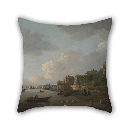 Oil Painting Adrien Leprieur - An Imaginary View Of Westminster Bridge Throw Cushion Covers 18 X 18 Inches / 45 By 45 Cm For Indoor Christmas Dance Room Monther Son Divan With Two Sides (Westminster Halloween Dance)