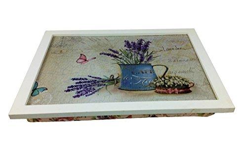 GMMH Rustico vassoio colore: blu lavanda brocca per acqua Laptop Vassoio Bambù sottomano–Vassoio da letto colazione da tavolo, tavolo–vassoio tavolo-vassoio Gmmh Ltd.
