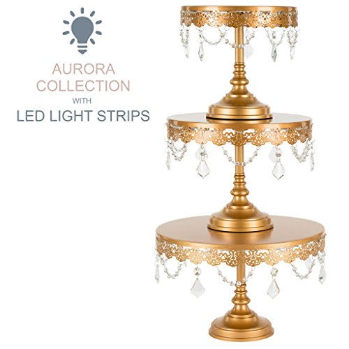 Aurora 3-Piece Gold Rechargeable LED Cake Stand Set, Round Metal Crystal Cupcake Dessert Display Pedestal Wedding Party Display, Chargers Included