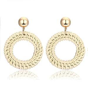YOSION Rattan Earrings Woven Wicker Earring for Women Lightweight Straw Knit Hoop Dangle Earrings Handmade Drop Earring for Girls (A Circle)