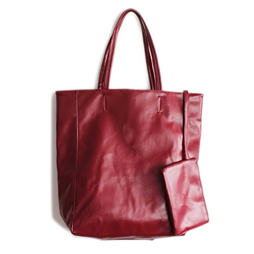 WORTHTRYIT Women's Eco Vegan Leather Lambskin Tote Bag Floppy Shopping Bag 16.7