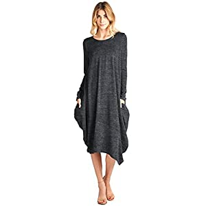 12 Ami Asymmetrical Heathered Sweater Knit Midi Dress (S-XXL) – Made in USA