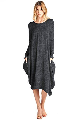 12 Ami Asymmetrical Heathered Sweater Knit Midi Dress Black XXL ()