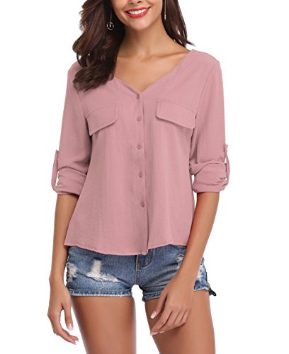LYHNMW Womens Casual V Neck Chiffon Blouses Roll-up Long Sleeve Button Down Shirts Tops Front Pockets(Pink XX-Large)