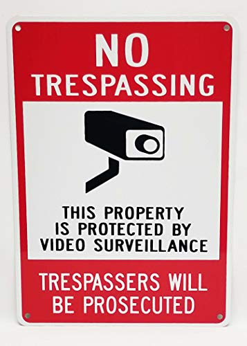 Highway Traffic Supply Aluminum Sign, Legend No Trespassing - Video Surveillance with Graphic, 14 high x 10 wide, Black/Red on White